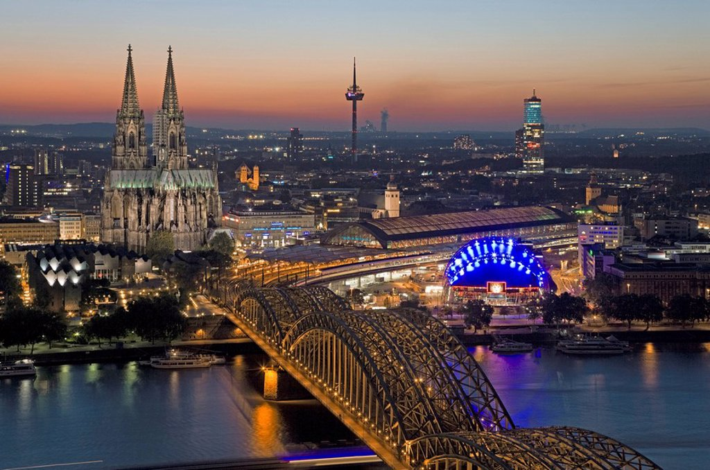 Cologne at night, bird´s eye view : Stock Photo