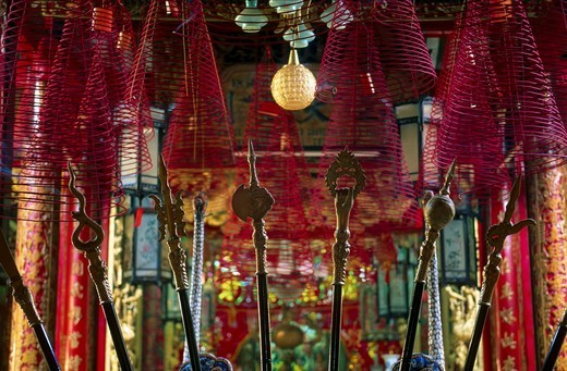 Close_up of incense coils hanging from ceiling, Vietnam, Asia : Stock Photo