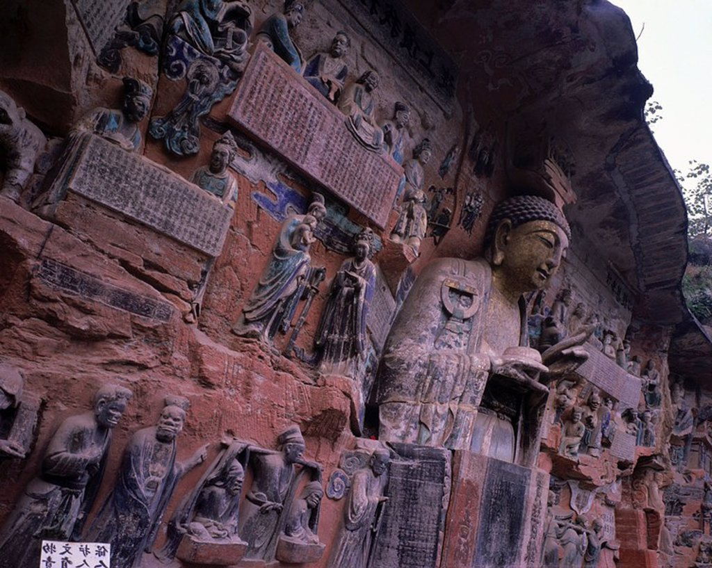 Stock Photo: 1841-43937 Sculptures caved on rock face, Dazu Grottoes, Chongqing, China