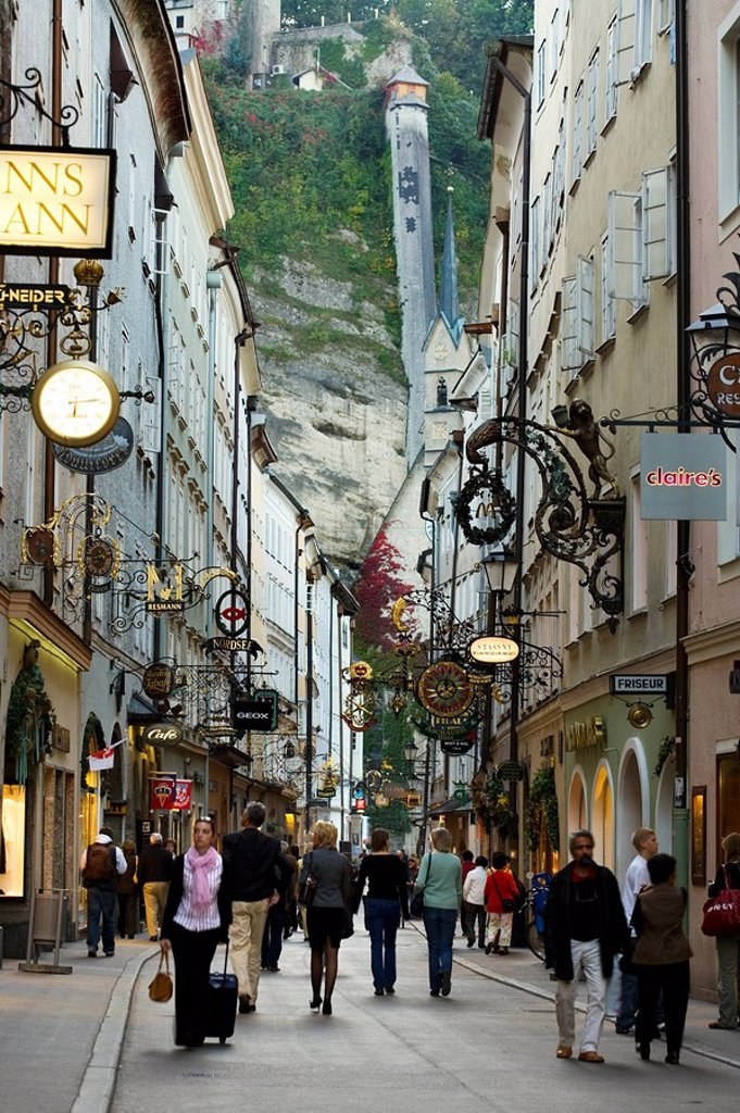 People walking in street, Salzburg, Austria : Stock Photo