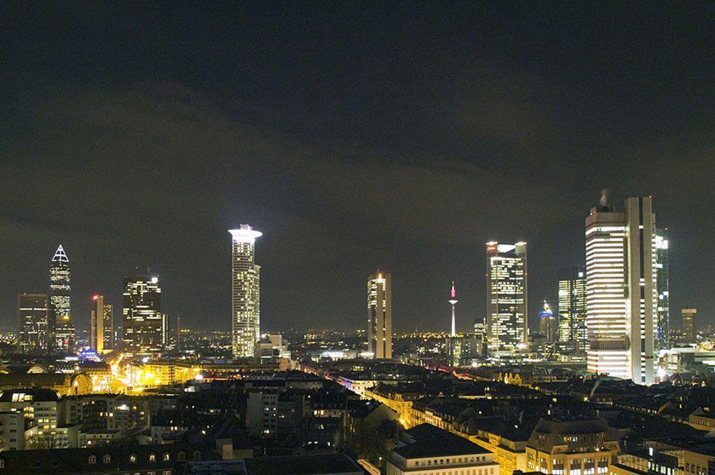 Office buildings lit up at night, Dresdner Bank, DeKaBank, Frankfurt, Hesse, Germany : Stock Photo