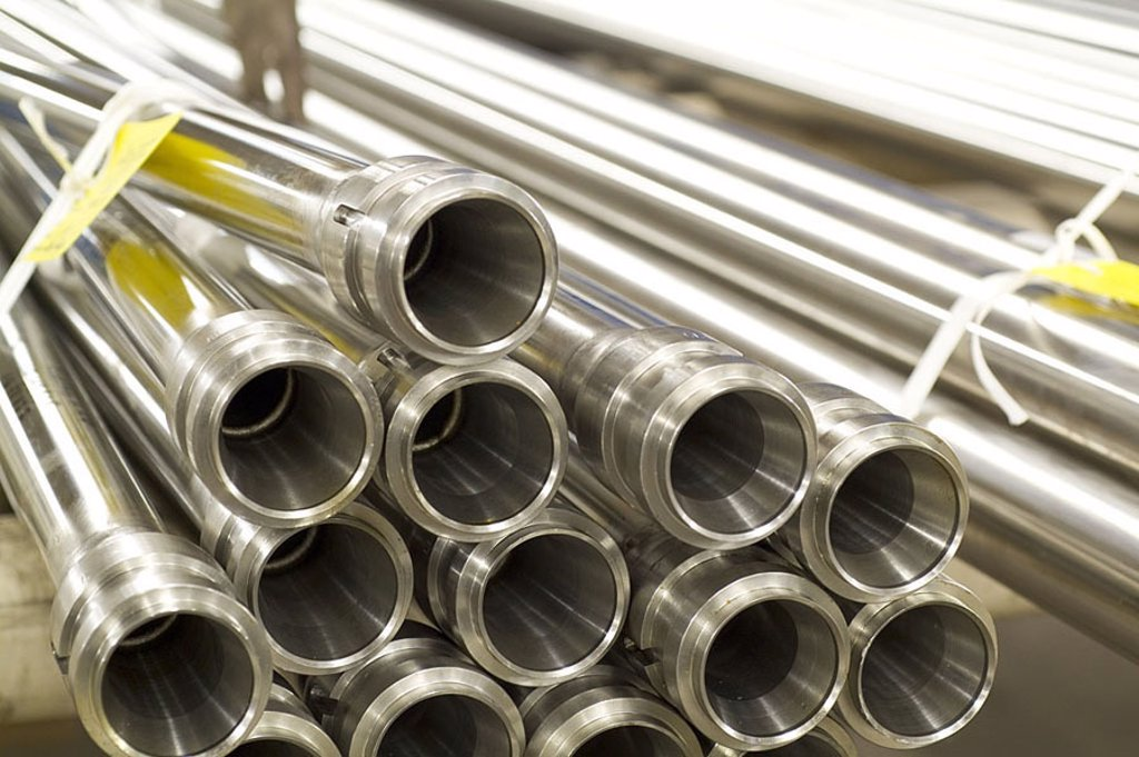 Stock Photo: 1841-44591 Close_up of steel pipes, Germany, Europe