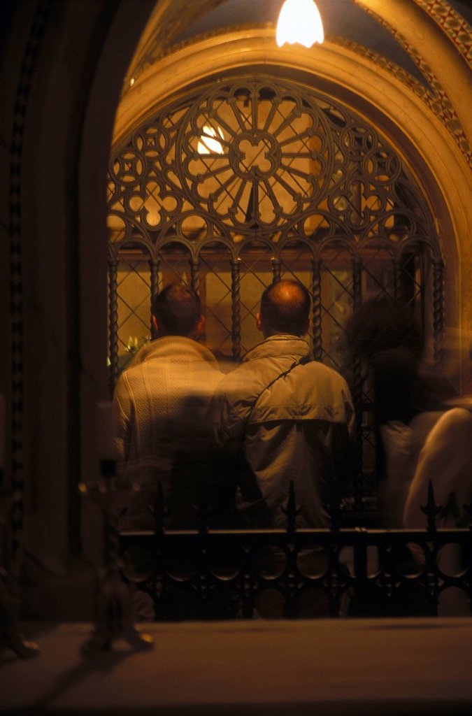 People praying in a church, Basilica of Saint Clare, Assisi, Perugia Province, Umbria, Italy : Stock Photo