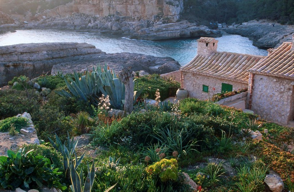 High angle view of house along river, Spain, Europe : Stock Photo