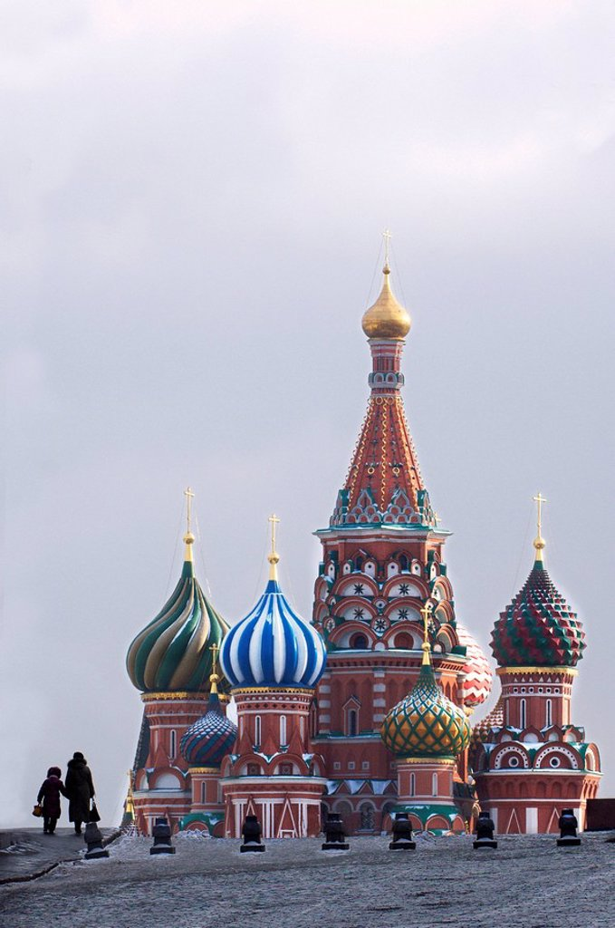 Stock Photo: 1841-45217 Church on town square, Saint Basil´s Cathedral, Red Square, Moscow, Russia