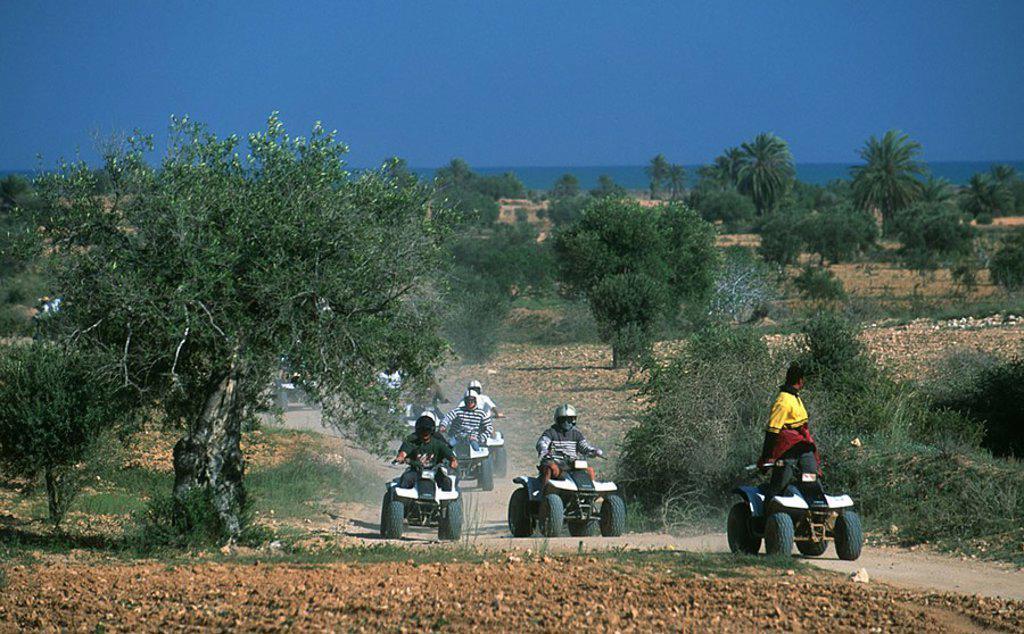 Stock Photo: 1841-46193 Quad bikers racing on dirt road, Djerba, Tunisia