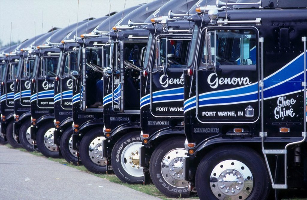 Trucks parked at parking area : Stock Photo