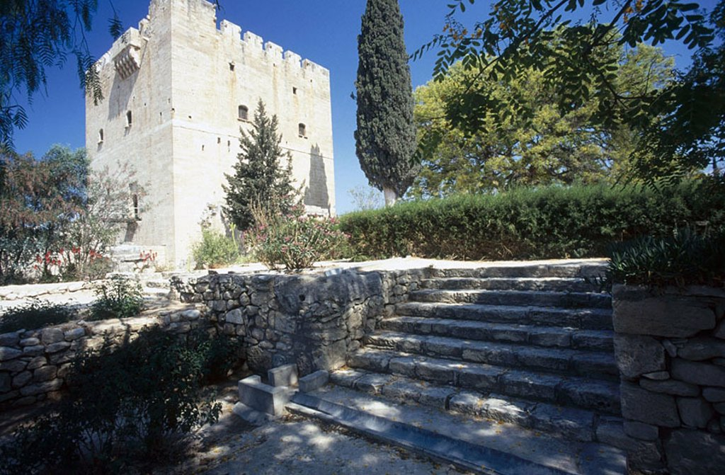 Stock Photo: 1841-46201 Trees in front of castle, Kolossi Castle, Kolossi, Cyprus