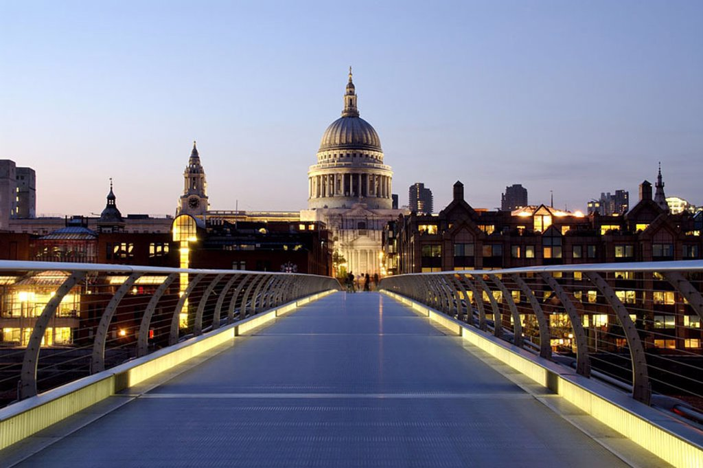 Stock Photo: 1841-46538 Bridge across river leading towards church, Millennium Bridge, Thames River, St. Pauls Cathedral, London, England