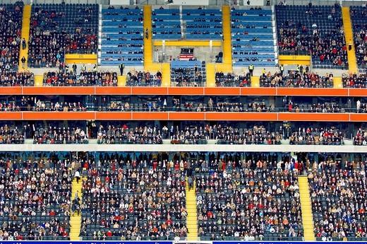 Stock Photo: 1841-47102 Soccer fans sitting in stadium, Commerzbank Arena, Frankfurt, Hesse, Germany