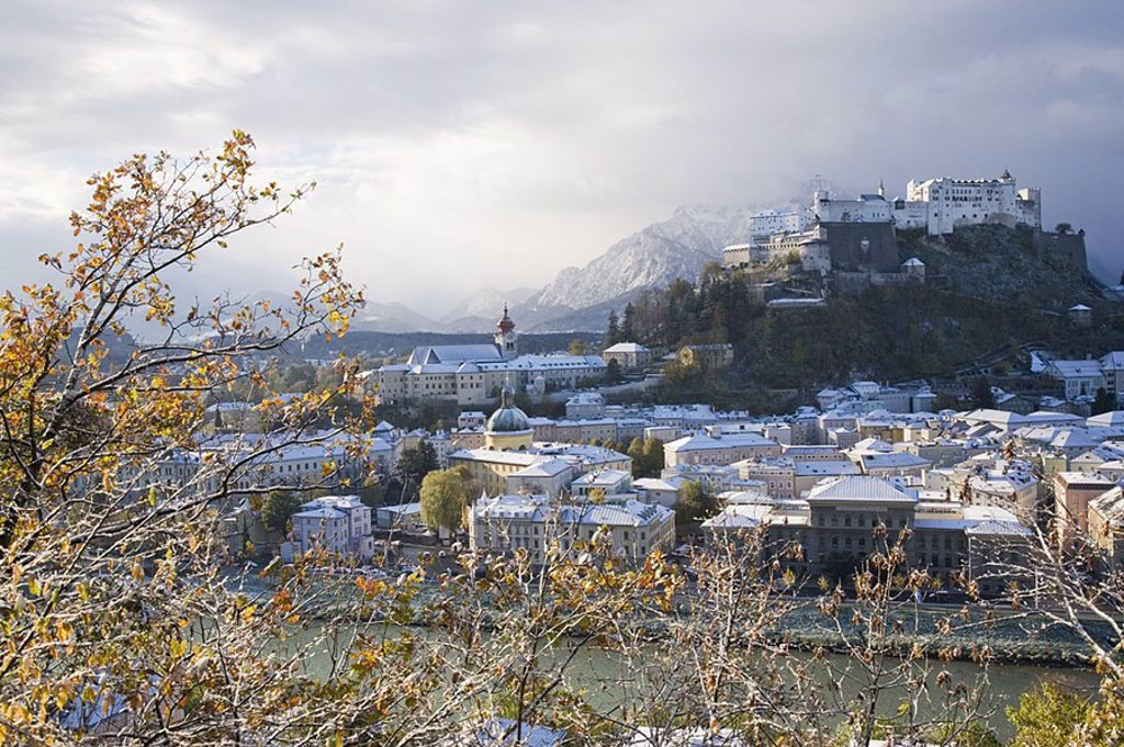 Castle on hill, Hohensalzburg Fortress, Salzburg, Austria : Stock Photo