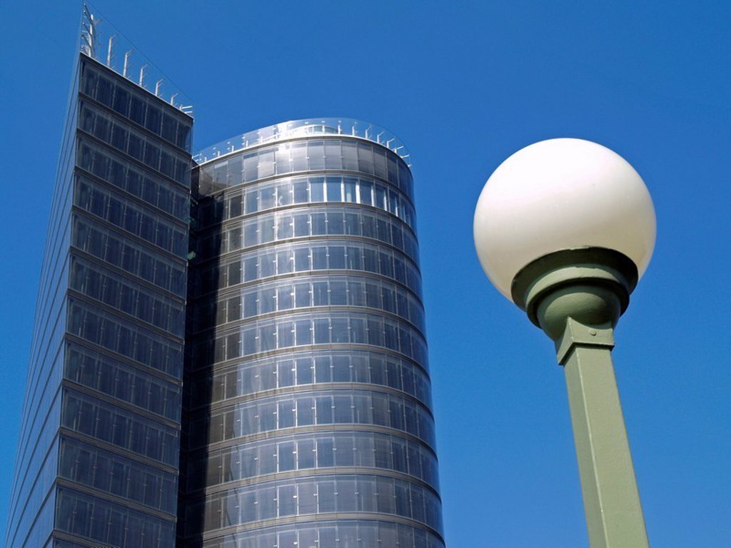 Low angle view of office building, Uniqa Tower, Vienna, Austria : Stock Photo