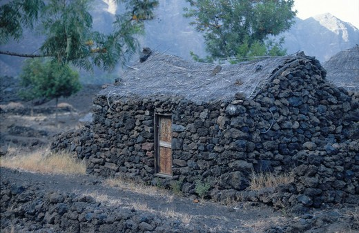 Hut on volcanic landscape, Fogo Crater, Fogo Island, Cape Verde Islands : Stock Photo
