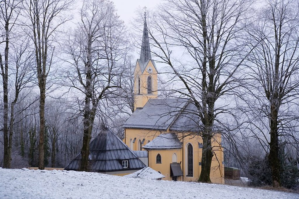 Church surrounded by forest : Stock Photo