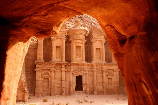 View from rock cave to the Al_Deir temple near Petra, the city in the rock, Jordan : Stock Photo