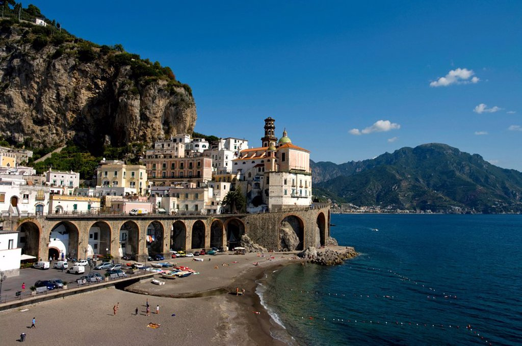 Collegiata di Santa Maria Maddalena Penitente, Atrani, Amalfi coast, Campania, Italy, Europe : Stock Photo