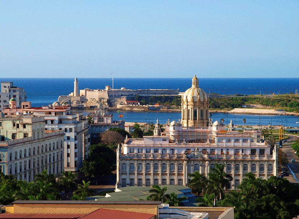Stock Photo: 1841-50773 Old Havana with the coast in the background, Cuba, High angle view