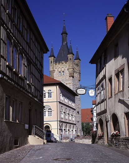 Empty street of town under clear blue sky, Bad Wimpfen, Baden_Wurttemberg, Germany : Stock Photo