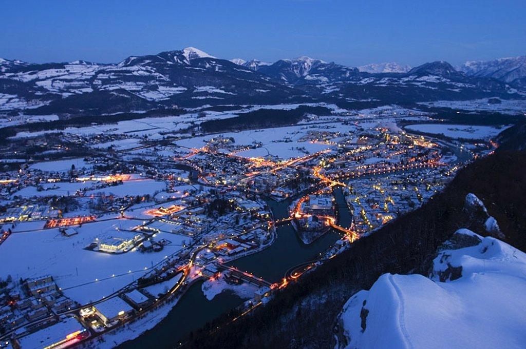 Stock Photo: 1841-51284 Aerial view of city lit up at dusk, Barmstein, Hallein, Salzachtal, Osterhorngruppe, Dachstein, Austria