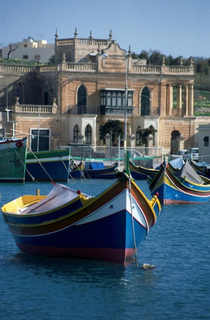Colored boats in harbor, Marsaxlokk, Malta : Stock Photo