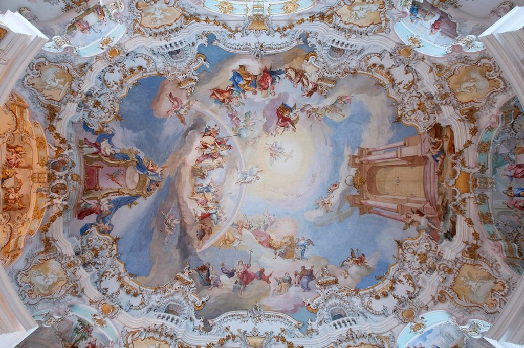 Ceiling fresco of the Wieskirche, Steingaden, Germany, directly below : Stock Photo