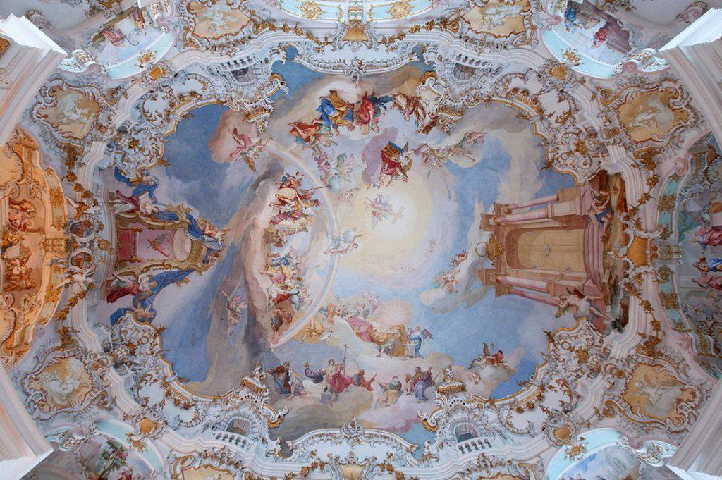 Stock Photo: 1841-52007 Ceiling fresco of the Wieskirche, Steingaden, Germany, directly below