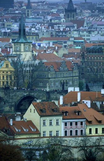 High angle view of cityscape, Prague, Czech Republic : Stock Photo