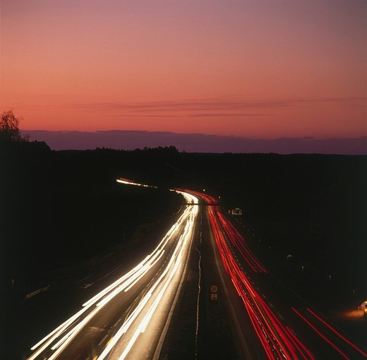 High angle view of traffic on road at night : Stock Photo