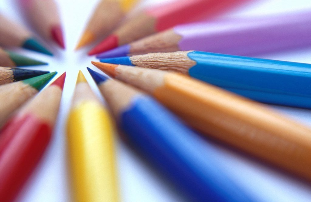 Close_up of colored pencils : Stock Photo