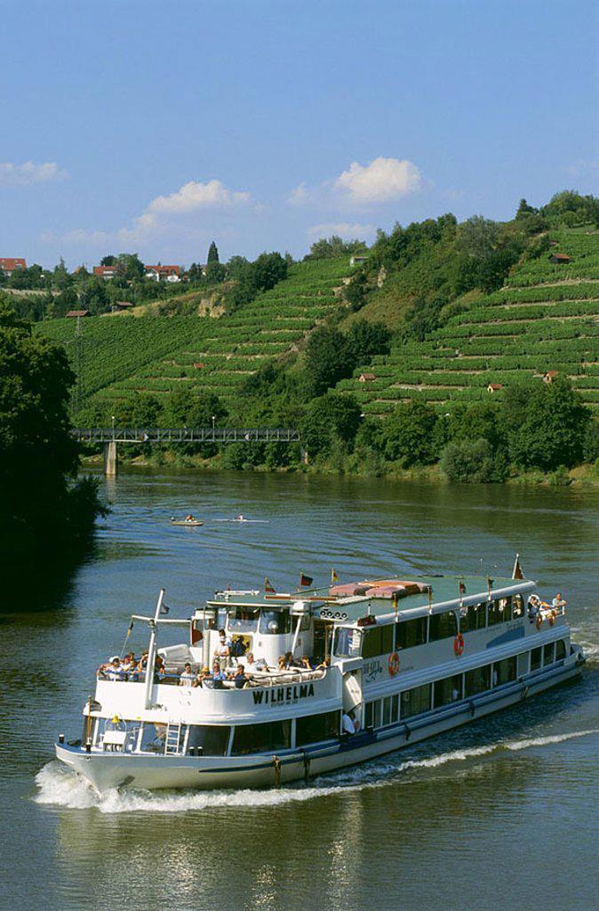 Tour boat in river, Neckar River, Stuttgart, Baden_Wurttemberg, Germany : Stock Photo