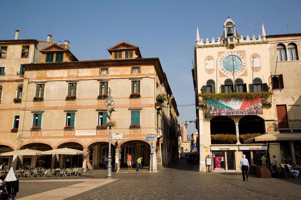 Palace in city, Bassano Di Grappa, Piazza Liberta, Veneto, Italy : Stock Photo