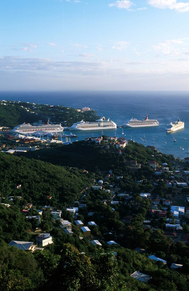 Stock Photo: 1841-54961 Aerial view of cruise ships at harbor, Charlotte Amalie, St Thomas, Leeward Islands, US Virgin Islands