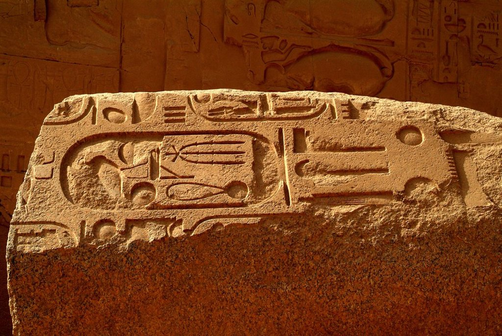 Stock Photo: 1841-55135 Hieroglyphs on a stone, Karnak Temple, Karnak, Egypt