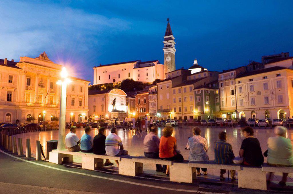 Buildings at waterfront, Piran, Balkan Peninsula, Slovenia : Stock Photo