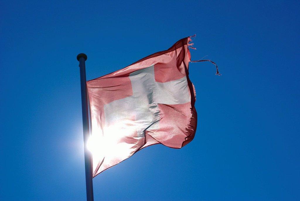 Europa, Schweiz, Berner Oberland, Die schon etwas zerfetzte Schweizer Nationalflagge wird durch die Sonne beleuchtet. : Stock Photo