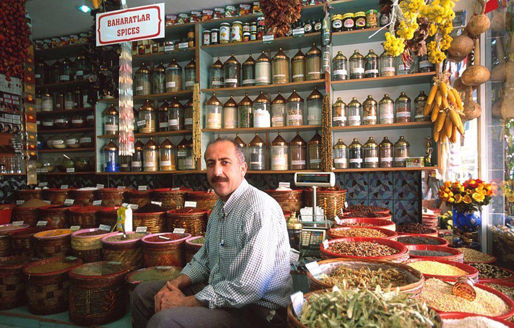 Stock Photo: 1841-55920 Portrait of shopkeeper inside store, Mugla, Turkey