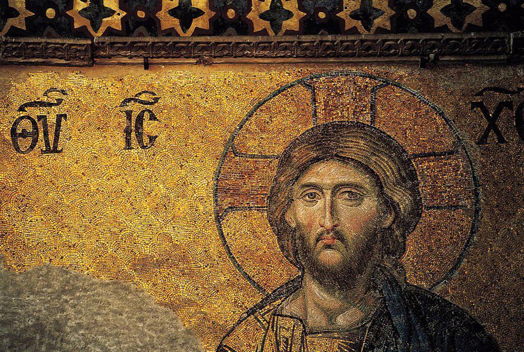 Mosaic tiles of Jesus on wall : Stock Photo