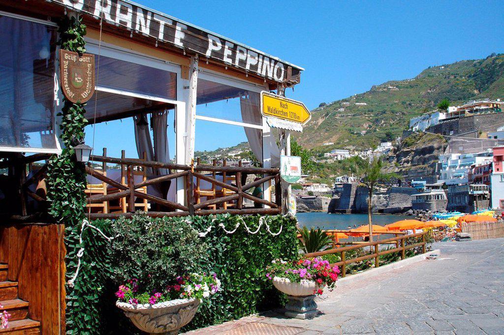 Restaurant at the coast of Sant Angelo, Ischia, Campania, Italy : Stock Photo