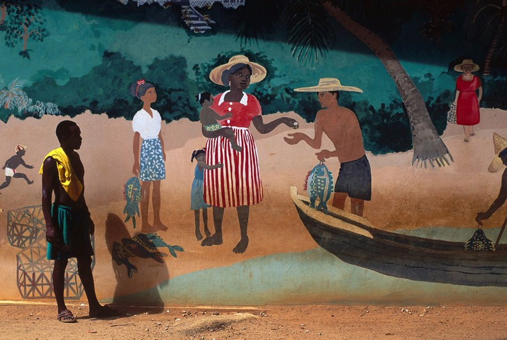 Stock Photo: 1841-57199 Man looking at mural, Praslin Island, Seychelles