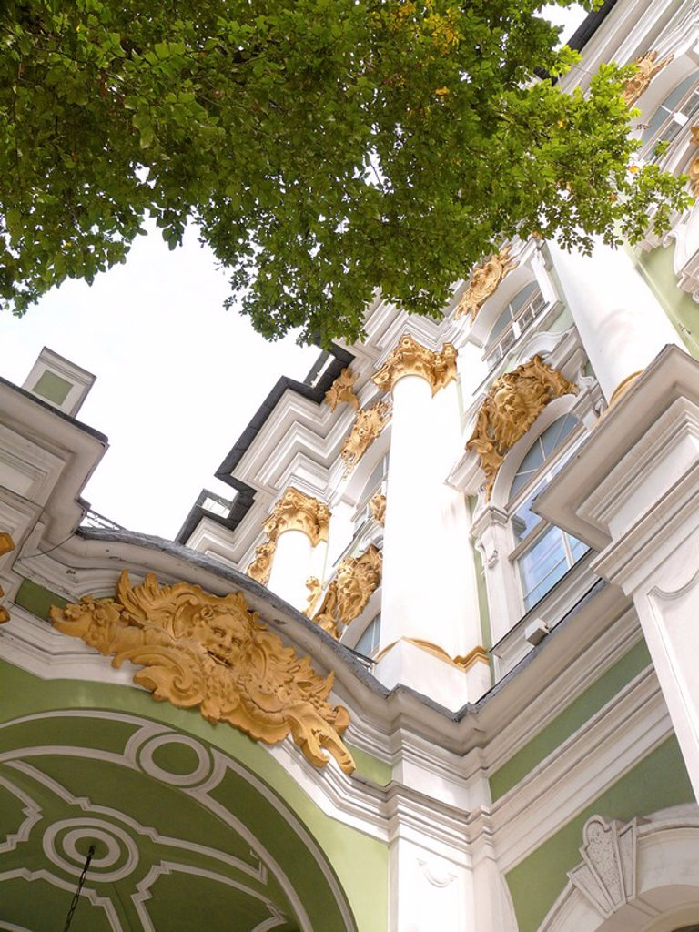Low angle view of art museum, State Hermitage Museum, St. Petersburg, Russia : Stock Photo