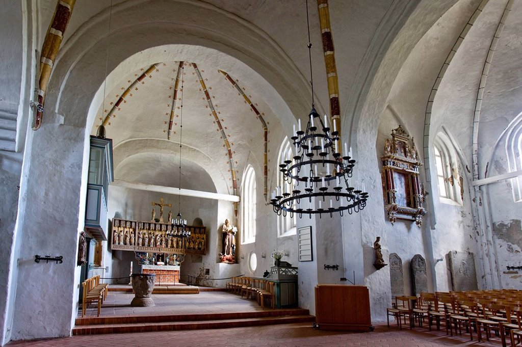 Interior of the St. Johns Church, Nieblum, Foehr, Schleswig_Holstein, Germany : Stock Photo