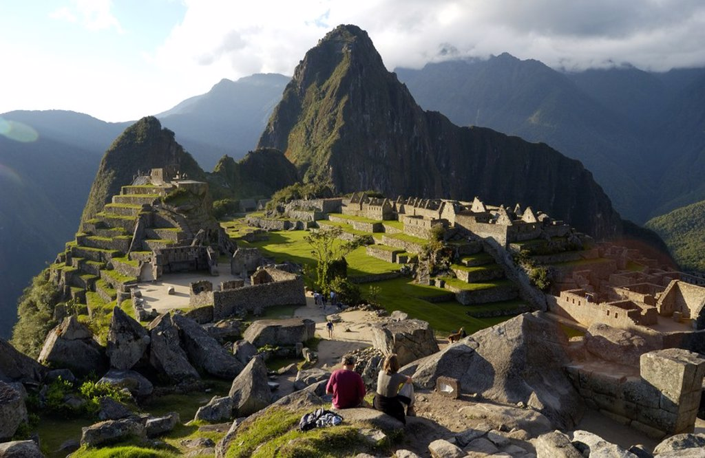 Stock Photo: 1841-57683 High angle view of old ruins on mountain, Inca Ruins, Machu Picchu, Cusco Region, Peru
