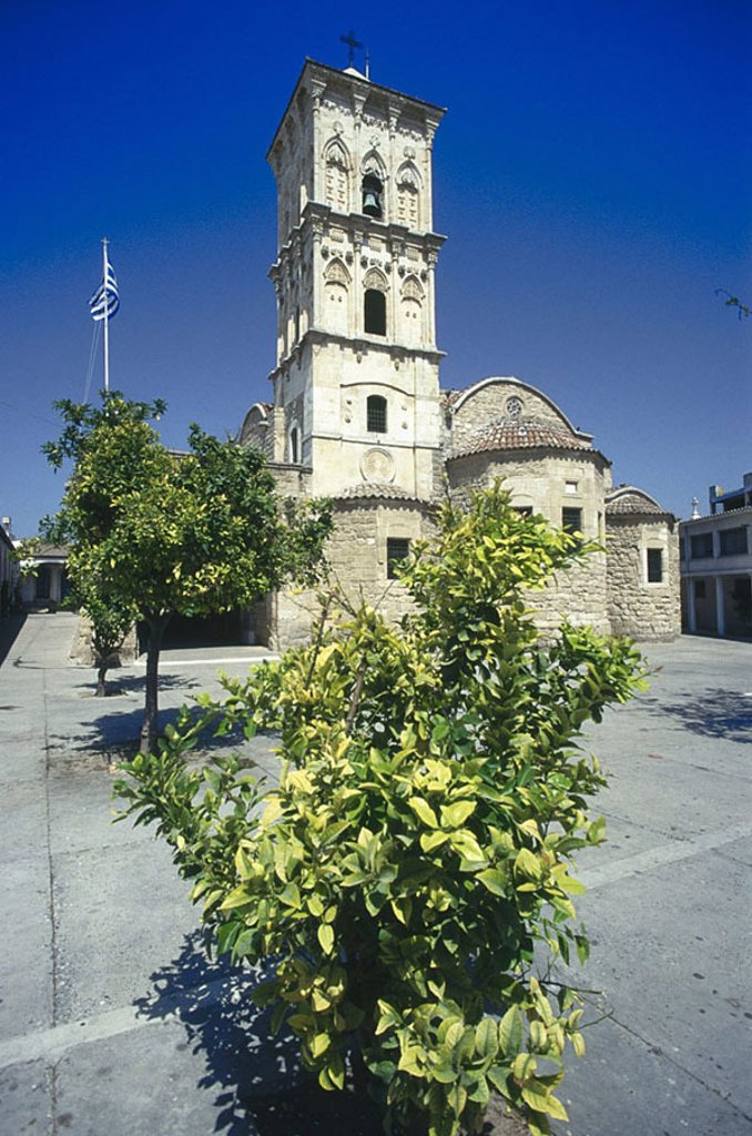 Stock Photo: 1841-58379 Trees in front of church, St. Lazare Cathedral, Greek Islands, Greece