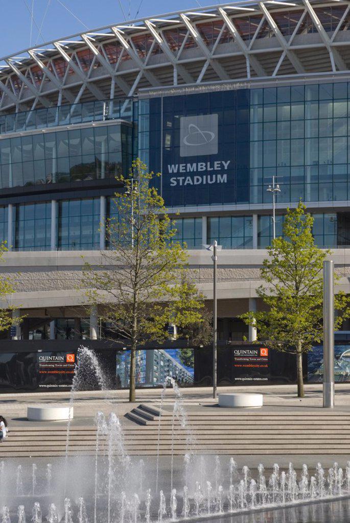 Stock Photo: 1841-58393 Fountain in front of soccer stadium, Wembley Stadium, Wembley, London, England