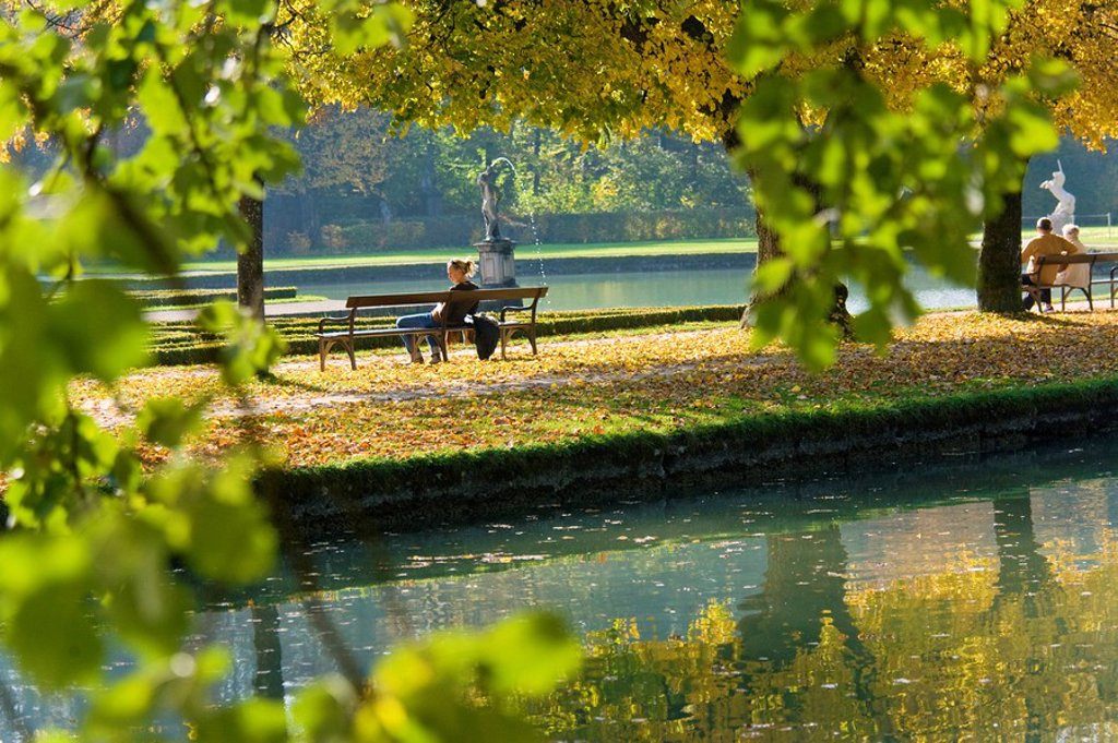 Fall in the park of Heilbrunn, Austria : Stock Photo