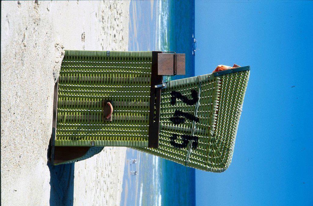 Beach chair on beach, Schleswig_Holstein, Germany, Europe : Stock Photo