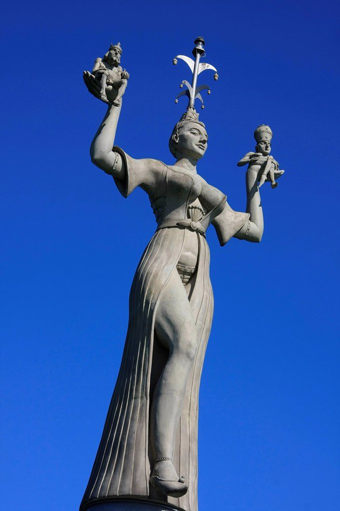Stock Photo: 1841-7468 Imperia statue at the entrance of the harbour of Konstanz, Germany, low angle view