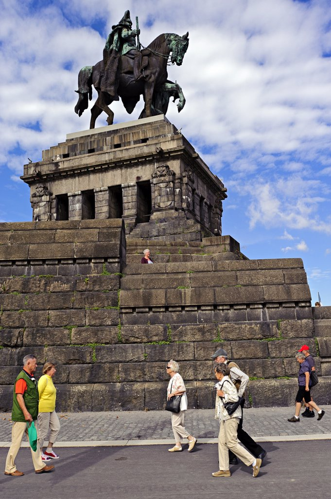 Emperor William I Monument, Deutsches Eck, Koblenz, Germany : Stock Photo