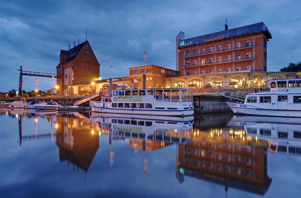 Stock Photo: 1841-78401 Granary and hotel at the harbor, Doemitz, Germany