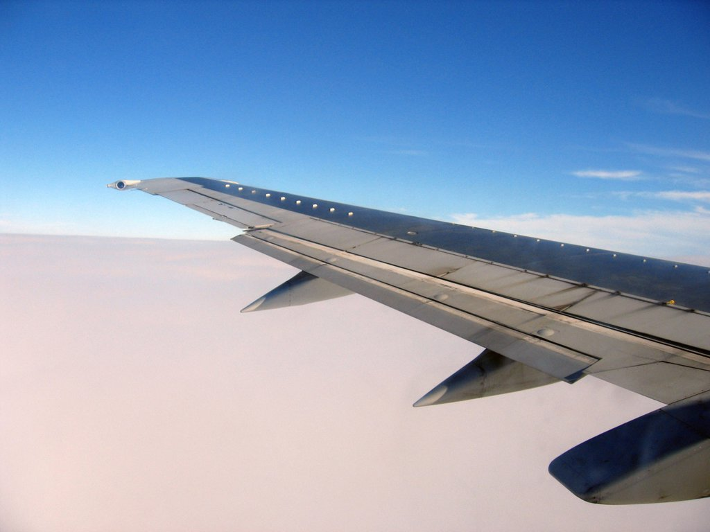 Wing of airplane : Stock Photo